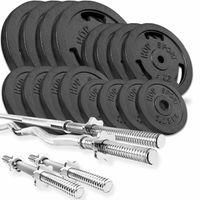 Hop-Sport GUSS Hantelset 96 kg, 1x Langhantel, 1x SZ Stange & 2X Kurzhantel inkl. 16 Hantelscheiben 4x10kg/4x5kg/4x2,5 kg/4x1,25kg