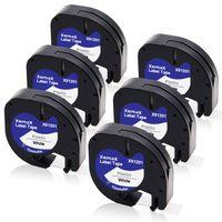 Xemax 6x kompatibel Schriftband Ersatz für Dymo LetraTag 91201/91221 12mm Schwarz auf weiß Kunststoff Bänder für Dymo LetraTag LT-100H LT-100T LT-110T QX 50 XR XM 2000 Plus Label Maker