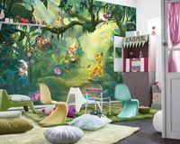 """Komar Fototapete """"Lion King Jungle"""", grün/braun, Wandbild, Löwenjungen, Simba, Tiere, 368 x 254 cm"""