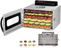 Dörrautomat Edelstahl , Dörrgerät Temperaturregler von 30-90℃, Timerfunktion von 24h Dörrzeit, BPA-frei, 6 Etagen Dörrautomat für Obst- Fleisch- Früchte-Trockner-Gemüse-Kräuter