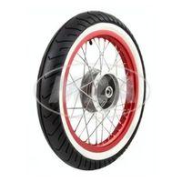 Komplettrad - hinten - 1,5x16 Zoll - Alufelge rot eloxiert und poliert, Chromspeichen + MITAS - Weißwandreifen MC2