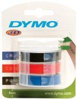 DYMO Prägeband 3D 9 mm breit 3 m lang schwarz glänzend 3 Bänder