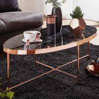 WOHNLING Design Couchtisch Marmor Optik Schwarz - Oval 110 x 56 cm mit Kupfer Metallgestell   Großer Wohnzimmertisch   Lounge Tisch