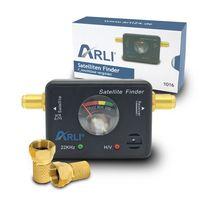 ARLI Satfinder + 2 x F-Stecker vergoldet mit breiter Mutter und Dichtring
