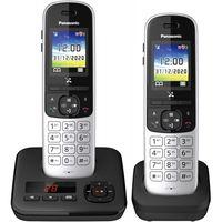 Panasonic KX-TGH722GG Duo schwarz DECT Schnurlos Telefon mit Anrufbeantworter