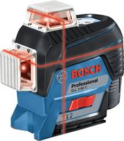 Bosch Linienlaser GLL 3-80 C, mit 4 x 1,5-V-LR6-(AA)-Batterien, Akku-Adapter