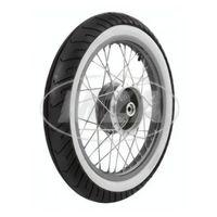 Komplettrad - hinten - 1,5x16 Zoll - Alufelge poliert, Edelstahlspeichen + MITAS - Weißwandreifen MC2