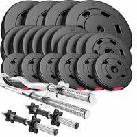 Hop-Sport Hantelset 105 kg 1x Langhantel-Stange, 1x SZ Curl-Stange, 2X Kurzhanteln, Gewichte 4x10kg / 6x5kg / 4x2,5kg / 6x1,25kg