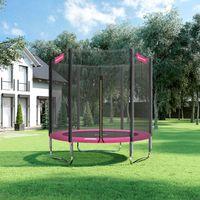 SONGMICS 183 cm Trampolin bis 100kg mit Sicherheitsnetz Outdoor Sport Gartentrampolin sicher schwarz-pink STR061P01