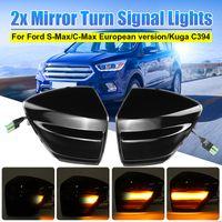 AUDEW Seitenblinker LED Blinker Rückspiegelleuchten 2x Schwarz Set FÜR FORD C-MAX S-MAX KUGA