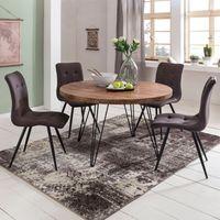WOHNLING Design Esszimmertisch BAGLI rund Ø 120 x 78 cm Sheesham Massiv-Holz   Landhaus Esstisch braun   Tisch für Esszimmer Küchentisch 4 Personen