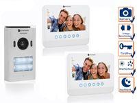 Video Türsprechanlage 2 Familienhaus, Gegensprechanlage mit Kamera + 7 Zoll LCD