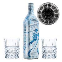 Game of Thrones Weiße Wanderer Set, Johnnie Walker White Walker Whisky + 2 gravierte Whiskygläser, Schnaps, Alkohol, 41.7%, 700 ml