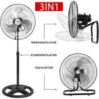 3in1 Ventilator Ø45cm Standventilator Leise Bodenventilator 80W Wandventilator Bodenventilator Windmaschine Klimagerät Fan Klimaanlage