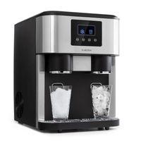 Klarstein Eiszeit Crush Eiswürfelmaschine , 3-in-1: Eiswürfel, Crushed-Eis, Eiswasser , 2 Eiswürfelgrößen , 15-18 kg/24h , LCD-Display , Wassertankkapazität: 1,8 Liter , Eiskapazität: 600 g , Kältemittel: R600a , Front aus gebürstetem Edelstahl , silber