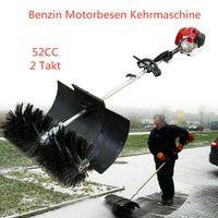 Kehrmaschine 2,3 PS 52cc Benzin Motor Motorbesen Schneefräse Schneeräumer Handheld Sweeper Besen mit Fahrgestell Luftgekühlte Einzylinder Handkehrmaschinen Schneeschieber 2-Takt