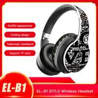 EL-B1 BT5.0 Drahtloses Headset Graffiti Folding Teleskop-Headset-Unterstuetzung TF-Karte FM-Modus 3,5-mm-Buchse (Schwarz & Weiß)