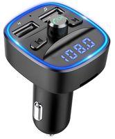 Bluetooth FM Transmitter für Auto, Blaue Umgebende Leuchte Drahtloser Radio Kfz-Empfänger Adapter mit Freisprecheinrichtung, Dual USB Ladegerät 5V/2,4A und 5V/1A, SD-Karte, USB-Disk