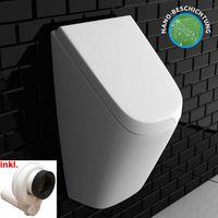 VitrA Pure Style Urinal + Deckel + Urinal-Absaug-Siphon | Zulauf & Ablauf von hinten | Pissoir Urinal Komplett Set Ausführung mit Deckel | Urinal aus robuster Sanitärkeramik | für perfekte Hygiene