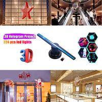 Beamer 3D Hologramm Projektor Werbung Beamer, Foto, Video Holographic Beamer mit 224 stücke LED Lichtperlen, Fernbedienung, Halterung, 16GB TF-Karte, 42 cm/16,5 zoll (englische Version)