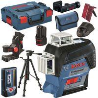 BOSCH Linienlaser SET GLL 3-80 C + Halterung BM1 + Empfänger LR 7 + Stativ BT150 + Laserzieltafel + L-Boxx + 1 Akku 2,0 Ah + Ladegerät