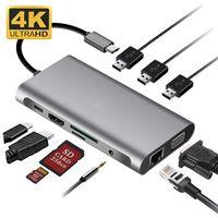 10-in-1-Typ-C-Dockingstation USB C zu Dual HDMI RJ45 VGA-Dockingstation MST-Multiscreen-Display