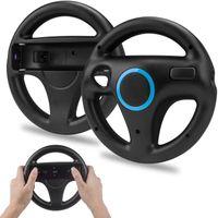 2 x Wii Wheel Controller Wii Mario Kart Lenkrad,Wii Spiel Racing Lenkrad Wheel Wii Mariokart Controller Kunststoff Game Lenkrad für Wii U Racing Spiele (Schwarz)