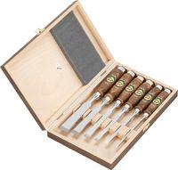 Kirschen 6-teiliger Zinkenbeitelsatz 1107 mit dunkel gebeizten und geölten Weißbuchenheft im Holzkasten bestehend aus 6+10+12+16+20+26mm