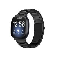 Fitbit Versa 3 / Sense Armband Edelstahl Schwarz