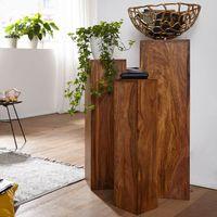 WOHNLING Beistelltisch 3er Set WL1.566 Massivholz 24,5x85x24,5 cm Sheesham Tische   Holztisch Natur-Produkt   Echtholz Beistelltische Dekosäulen   Drei Holztische Braun   Blumenhocker Holz Modern