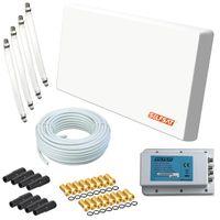 Selfsat H22D4+ Flachantenne Quad mit Multifunktionshalterung + 50m Kabel + 4 Fensterdurchführung + 16 F-Stecker + 8 Wetterschutztüllen digital Sat Anlage 4 Teilnehmer (Full HD 4K UHD)