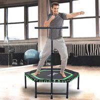 ISE Fitness Trampolin,Trampolin für Jumping Fitness Ø 122 cm höhenverstellbarer Haltegriff(113.5-134.5cm),leise Gummiseilfederung,Nutzergewicht bis (Grün)