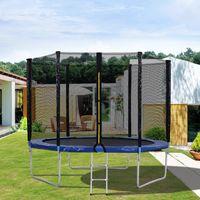 Merax Outdoor Gartentrampolin Trampoline Φ305 * 256 cm inklusive Sicherheitsnetz, Sprungtuch und Leiter  von GS- und 10 FT Trampolin Fitnesstraining, bis zu 150KG, Blau