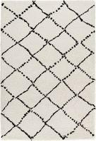 Design Velours Teppich Hochflor Shaggy Langflor Hash grau creme