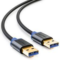 deleyCON 1m USB 3.0 Super Speed Kabel - USB A-Stecker zu USB A-Stecker - Übertragungsraten bis zu 5Gbit/s - /Blau