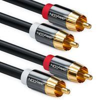 deleyCON 10m Cinch Kabel Stereo Audio Cinch RCA Kabel 2x Cinch Stecker zu 2x Cinch Stecker HiFi-Anlage HiFi-Receiver Heimkino Blu-Ray Player - Schwarz
