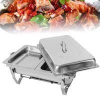2X Food pan Edelstahl Warmhaltebehälter,7.5L Chafing Dish Essens Wärmer Warmhaltebehälter Speisenwärmer Buffet Behälter für Catering, Buffet und Party