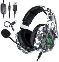 ONIKUMA K8 PS4 Kopfhörer Camouflage Kabelkopfhörer PC Gamer Stereo Gaming Headset mit Mikrofon LED Leuchten für XBox One / Laptop, Schwarz & Weiss