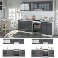 Vicco Küche Raul Küchenzeile Küchenblock Einbauküche 240 cm Anthrazit Hochglanz
