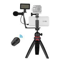 Telefon Video Vlog Kit mit Kugelkopf Stativ Mikrofon LED Licht Telefonklemmenhalter Adapter Fernausloeser Handy Stativ