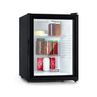 Klarstein Brooklyn 42 Mini-Kühlschrank mit Glastür, kompakt, freistehend, Thermoelektrisches Kühlsystem, 42 Liter, 12 - 18 °C, Auto DeFrost, , 0 dB, Innenraum: weiß, schwarz