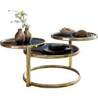 Couchtisch SUSI mit 3 Tischplatten Schwarz / Gold 58 x 43 x