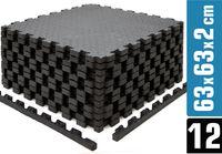 12 Bodenschutzmatten mit Rand - 63x63x2cm Fitness Bodenmatte