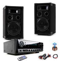 Musikanlage mit PA Boxen und Bluetooth Verstärker DJ-Compact 8