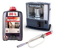 Petroleum-Ofen 3 kW Tayosan 363  Pumpe elektrisch, Petroleum Kanister 20L Liter Campingheizung