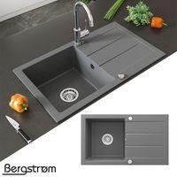 Bergström Granit Spüle Küchenspüle Einbauspüle Spülbecken 750x434mm Grau
