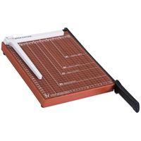 HOMCOM Papierschneidemaschine Hebelschneider Papierschneider bis DIN A4 Metall Braun 48 x 26,5 x 5cm