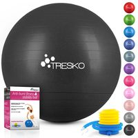 TRESKO Gymnastikball (Schwarz,65cm) mit Pumpe Fitnessball Yogaball Sitzball Sportball Pilates Ball Sportball