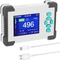 Darmowade CO2-Messgerät Kohlendioxid Detektor mit Akku CO2 Meter Tester für Luftqualitäts Detektor Monitor mit