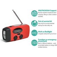 Solar Radio Kurbelradio Multifunktion Tragbares Outdoor für Notfälle mit Handkurbel LED Taschenlampe Powerbank FM/AM Notfallradio